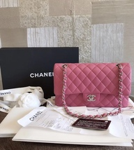 Brand New Authentic Chanel 2019 Pink Quilted Lambskin Medium Double Flap Bag Shw - $4,599.99