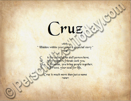 Cruz Hidden Within Your Name Is A Special Story Letter Poem  8.5 x 11 Print - $8.95