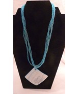 Multi-strand Faux Pearl and Abalone Shell Ice Blue Necklace Estate Jewelry - $18.99