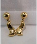 ANNE KLEIN Signed Goldtone Dangle Pierced Earrings Ball & Penguin Shaped - $9.98