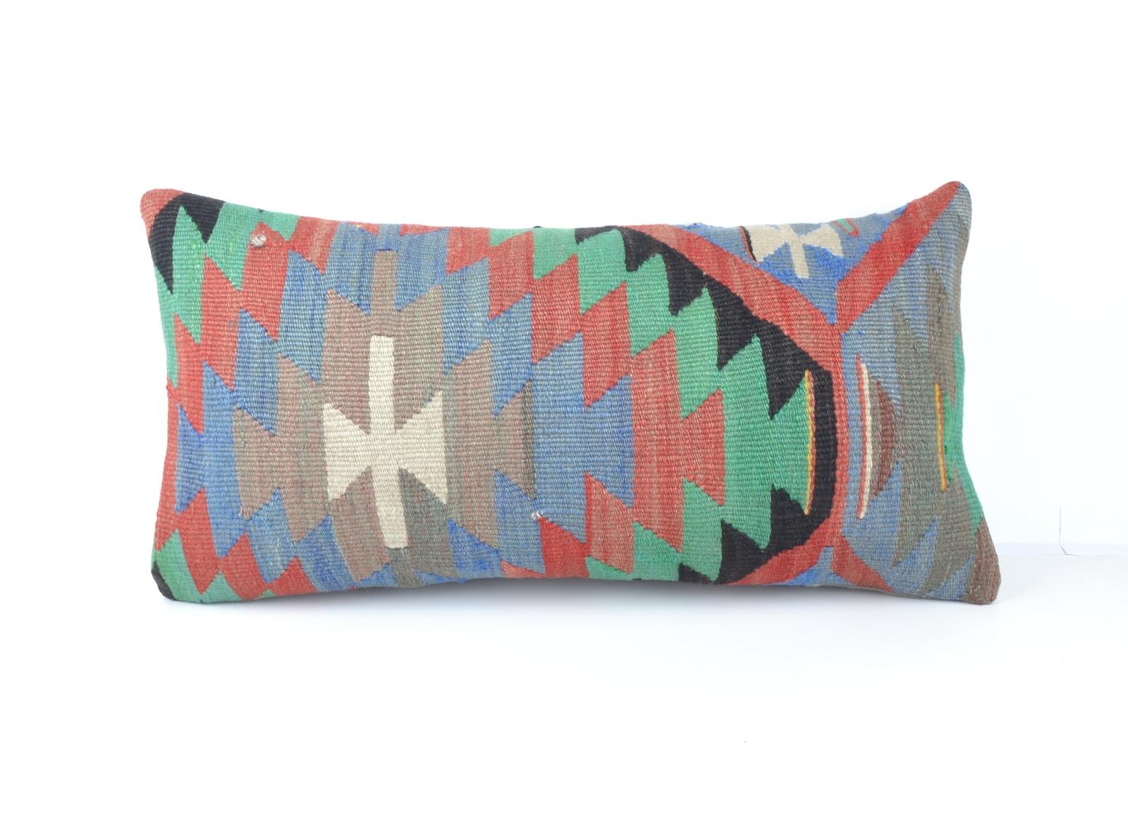 Vintage Chic Home Decor, Kilim Lumbar Pillow Case, Bolster Throw Cushion 24x12