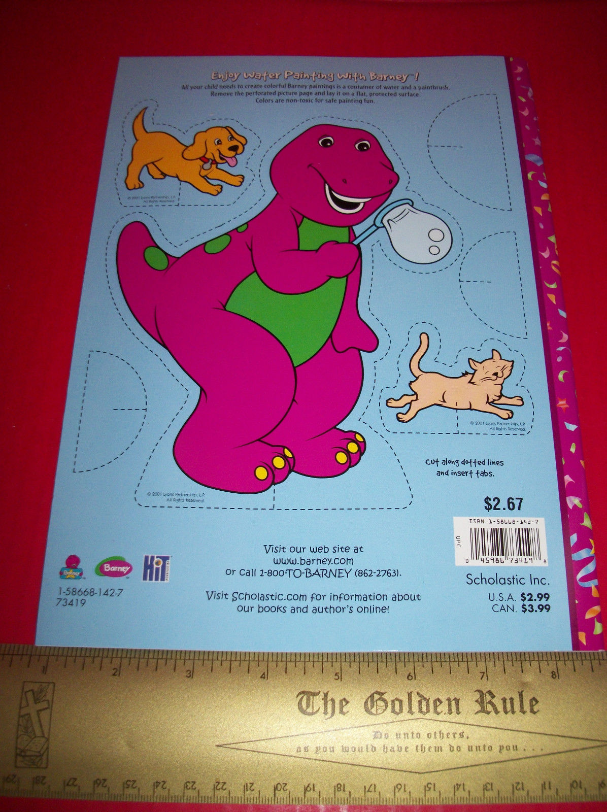 Barney Craft Activity Book Paint & Play Scholastic Water Painting Education Set