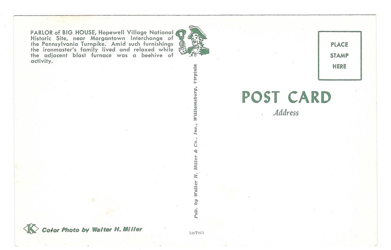 Hopewell Village PA Parlor Big House Vintage Postcard Walter H. Miller