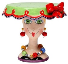 Appletree 6.5 inch Green and Red Lady Head Small Collectible Cake Stand - $49.95