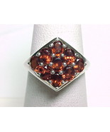 9 Genuine Oval Cut GARNETS RING in Sterling Silver - Size 9 - $110.00