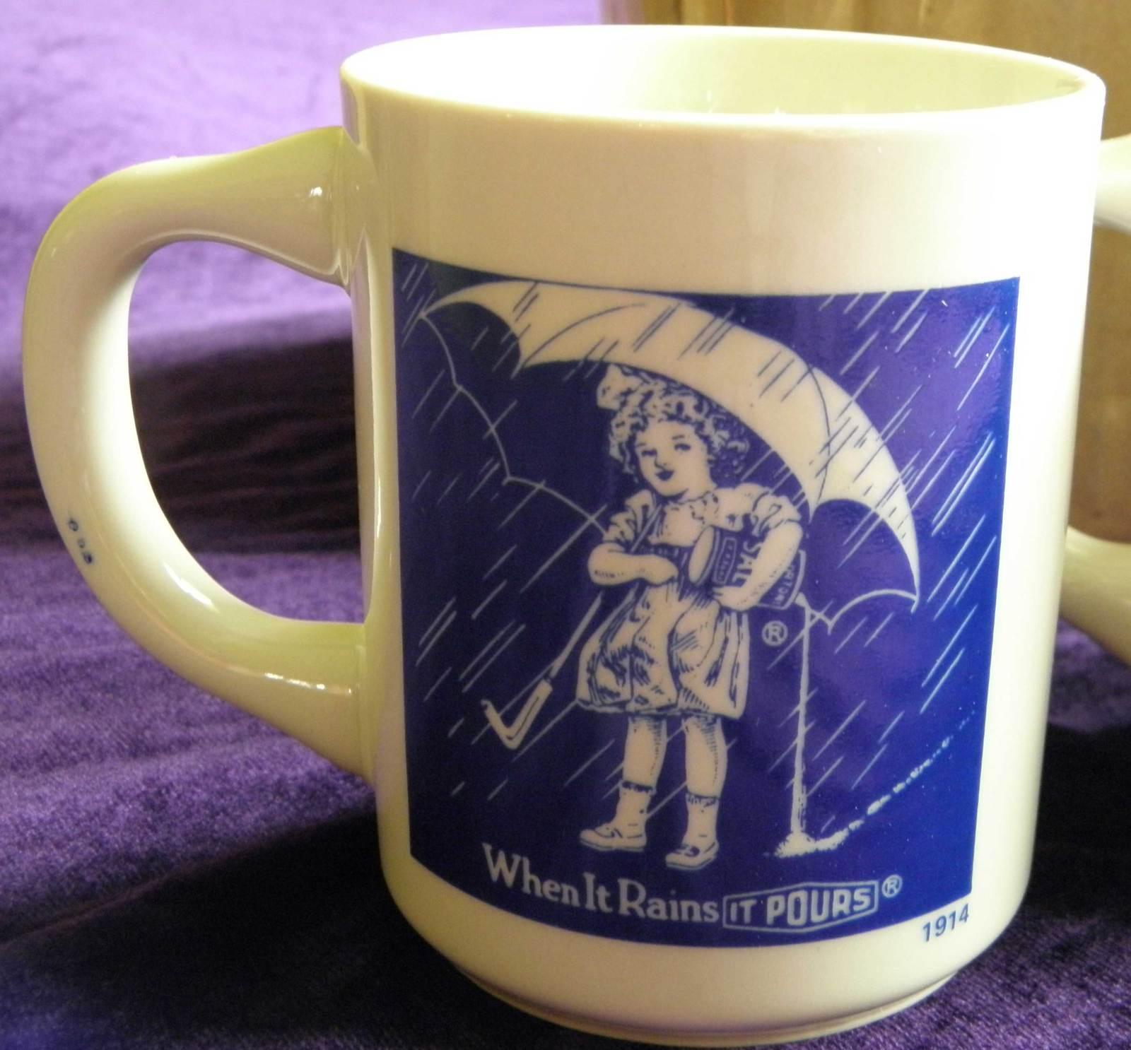 Vintage 1980 Morton Salt Ceramic Coffee Cup/Mug set
