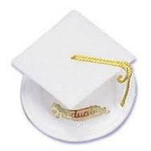 12 Graduation Cap Cake Topper White graduation favors candy or nut cup - $6.99