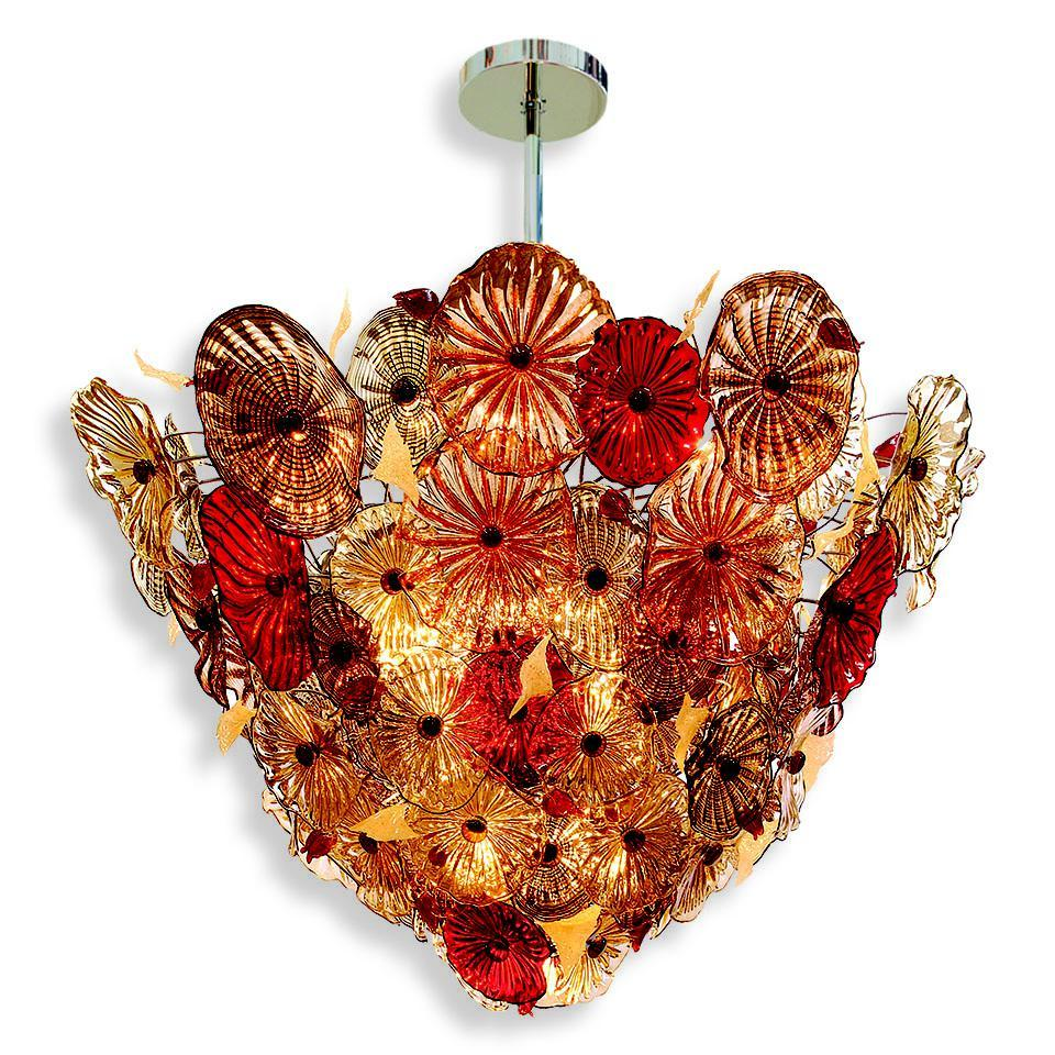 "Primary image for JK058: ""San Firenze"" Murano Glass Art Flower Chandelier Lamp (42""-60"" W) $2,870+"