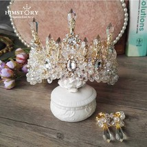 HIMSTORY Wedding Bridal Prom Princess Clear Crystal Rhinestone Pearl Tia... - £50.08 GBP