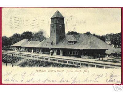 BATTLE CREEK MICHIGAN Central Depot MC UDB 1907 RR