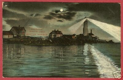 BOSTON MA Harbor Light Moonlight 1908 Robbins BJs