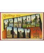 TRAVERSE CITY MICHIGAN Greetings Big Letter Linen MI - $6.00
