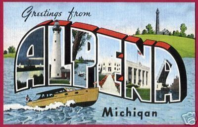 Primary image for ALPENA MICHIGAN Greetings Big Letter Boat Light MI