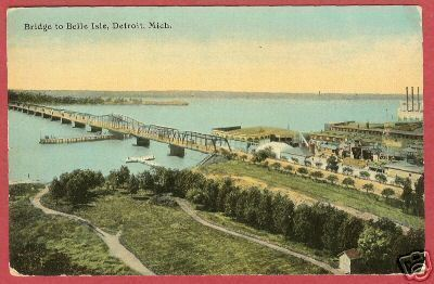 Detriot MI Bridge Belle Isle 1911 Postcard BJs
