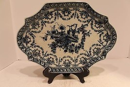 Beautiful Crackle Blue and White Chinoiserie Floral Pattern Porcelain Pl... - $98.99