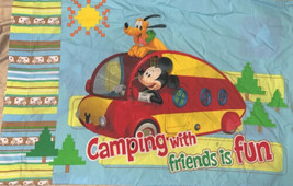 Disney Mickey Pillowcase Goofy Pluto Donald  Camping With Friend Is Fun - $11.23