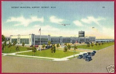 Primary image for DETROIT MICHIGAN Municipal Airport Linen MI