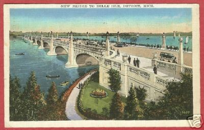 Detroit MI New Belle Isle Bridge 1937 Postcard BJs