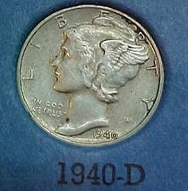 Mercury Dime 1940-D AU - $13.04