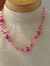 """19""""ARTISAN ARTSY PINK FAUX CRYSTAL BEADED STRAND NECKLACE,ACRYLIC BEADS,... - $4.94"""