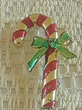Vintage Signed Gerry's  Enamel Christmas Candy Cane & Bow Pin Brooch - €5,39 EUR