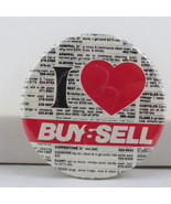 Vintage Advertising Pin - I love buy and sell - Celluloid Pin  - $15.00