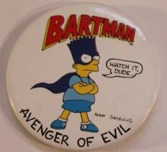 Vintage Simpsons Pinback Button Bartman Avenger of Evil Springfield - $3.95