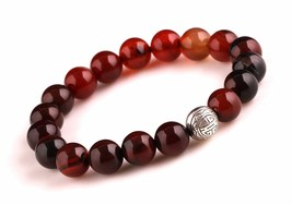 Multi-Color Agate Energy Beads Bracelet Men Woman Yoga Prayer Silver Lon... - $19.95