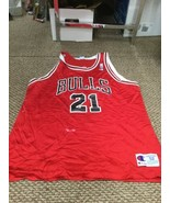 Chicago Bulls Marcus Fizer Red Champion Jersey Size 52 - $69.29