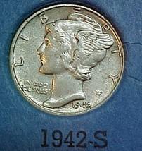 Mercury Dime 1942-S EF - $10.04