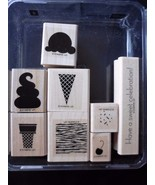 Stampin' Up! RETIRED Wood Mount Mounted Stamp SWEET SCOOPS Set of 8 NEW! - $24.45