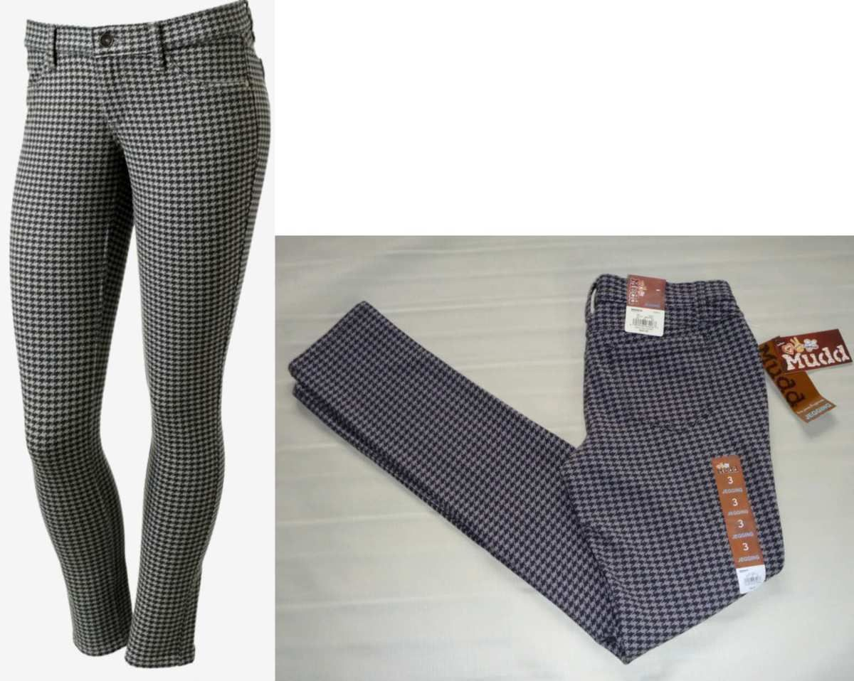MUDD Skinny Stretch Jeggings-Houndstooth Legging Pant-Gray Black- 3 New $40