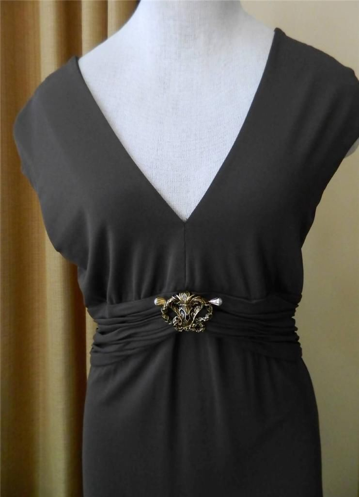 Roberto Cavalli Dress Removable Snake Jeweled Brooch Ruched Waist 46