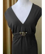 Roberto Cavalli Dress Removable Snake Jeweled Brooch Ruched Waist 46 - $187.11