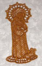Good Shepherd Bookmark, Machine Embroidered Lace, gold - $3.50