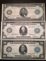 Reproduction Federal Reserve Note Set $5 $10 $20 1914 Lincoln Jackson Cleveland - $7.91