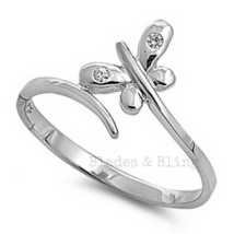 Sterling Silver Ring size 11 CZ Butterfly Wrap Crossover Thumb 925 New r80 - $12.58
