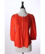 Anthropologie Meadow Rue Orange Fluted Pleated ... - $24.95