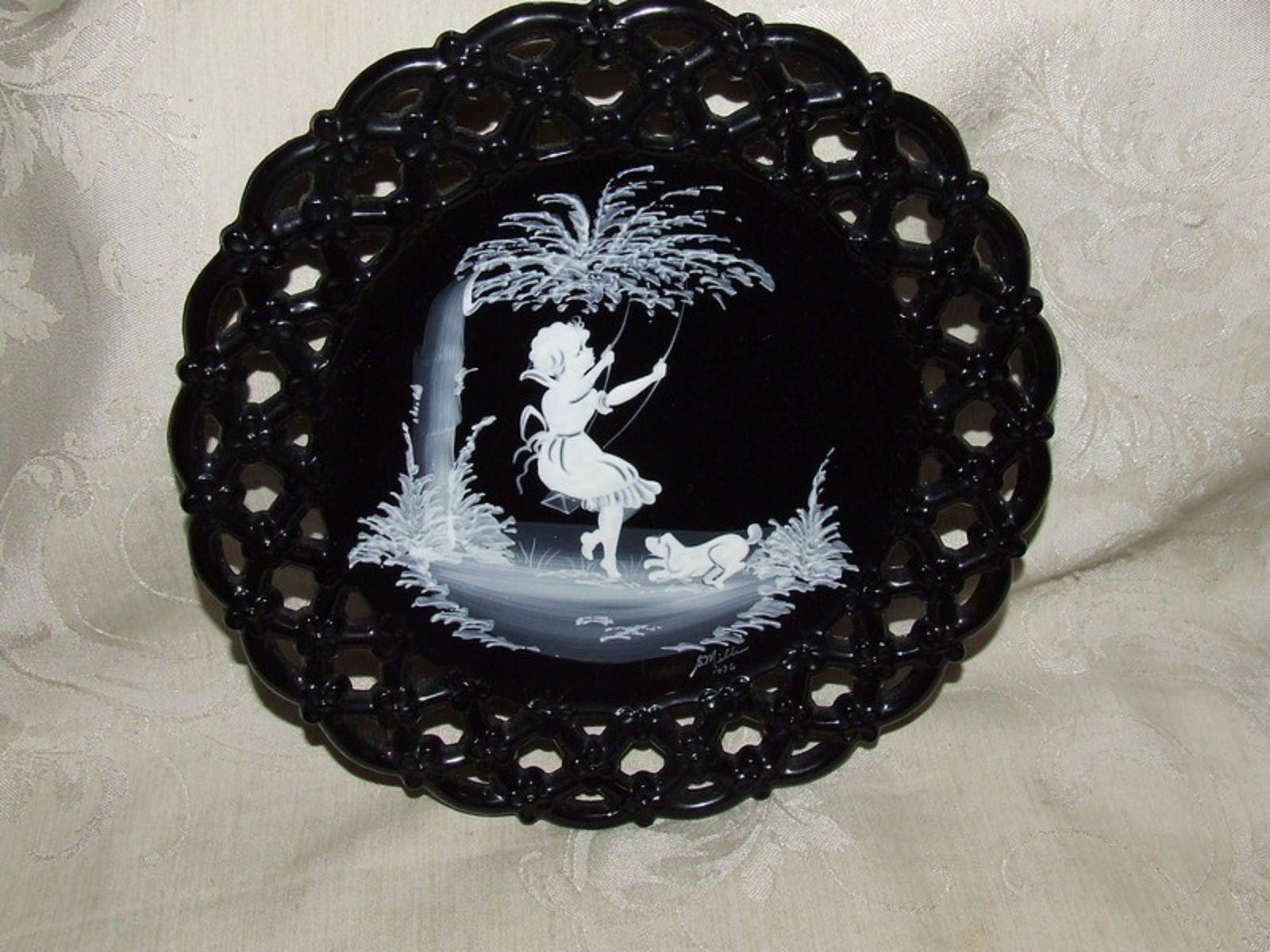1976 Westmoreland MARY GREGORY Black Plate 4 Seasons Spring Swinging Girl Dog - $22.00