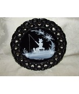 MARY GREGORY Black Glass Plate 4 Seasons Summer Fishing Boy with Dog 195... - $28.00