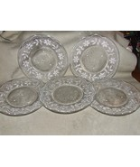 5 Antique Magnificent Stippled Luncheon Plates Lacy Spider Web Diamond S... - $250.00