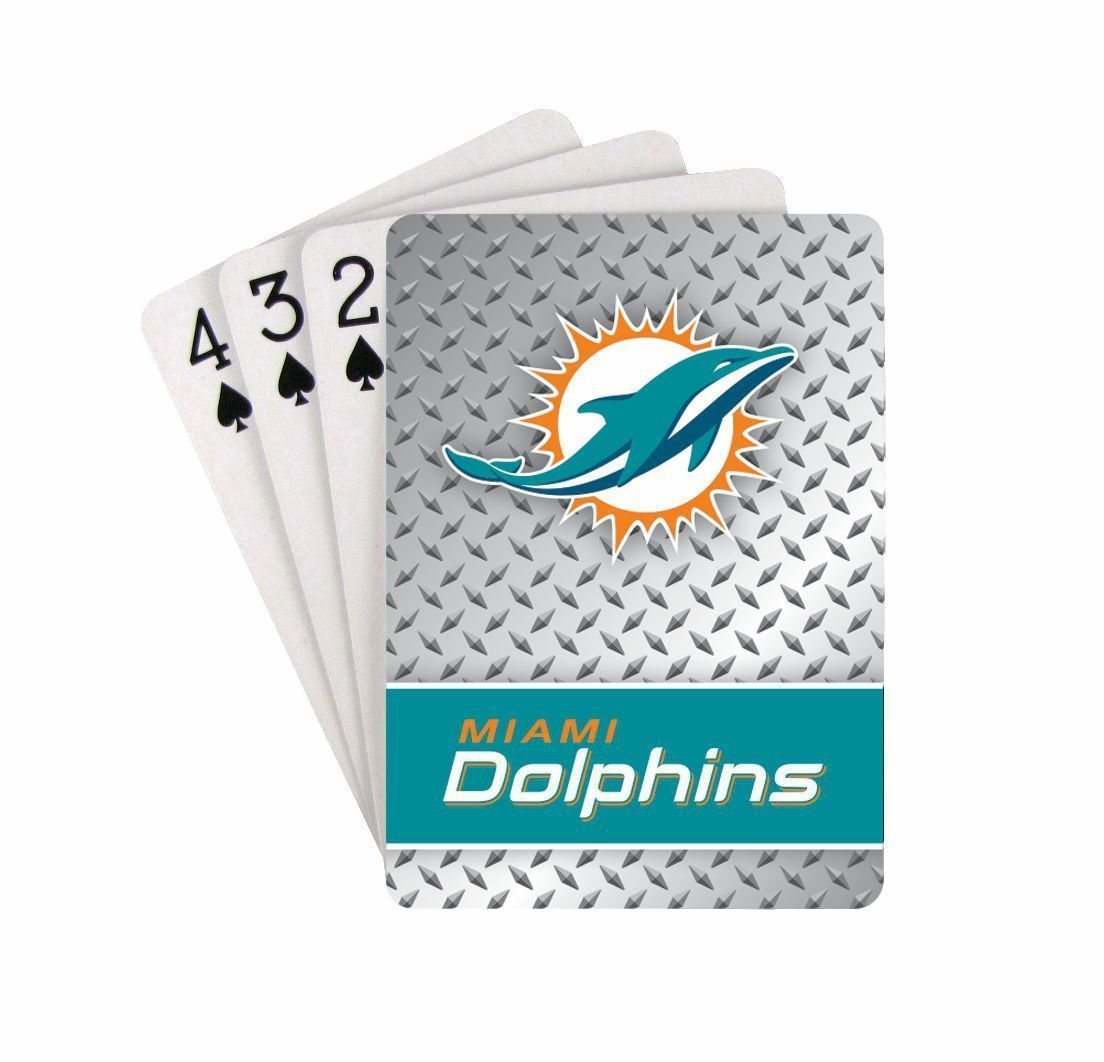 MIAMI DOLPHINS 52 PLAYING CARDS DECK DIAMOND PLATE POKER  NFL FOOTBALL