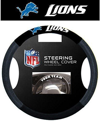 DETROIT LIONS SUEDE MESH CAR STEERING WHEEL COVER NFL FOOTBALL