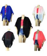 OPEN Layer Pleat Chiffon CARDIGAN Top Loose Fit Kimono Summer Blouse Shi... - $19.99