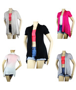 OPEN Layer Pleat Rayon CARDIGAN Top Loose Fit Short Slv Blouse Beach Shi... - $9.99+