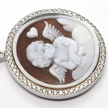 Silver Pendant 925 Cameo, Angel Engraved by Hand, Heart, Cloud, Zircon image 3