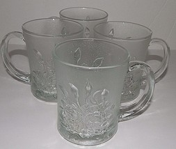 4 Pasari Crystal Livia Clear Glass Cups  Mugs Indonesia Rose Frosted Edg... - $34.64