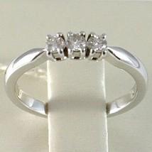 WHITE GOLD RING 750 18K, TRILOGY 3 DIAMONDS CARAT TOTAL 0.20, STEM SQUARE image 2