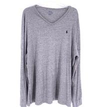 Polo Ralph Lauren XXL V-Neck Jersey Long Sleeve Mens Shirt Pullover Gray Heather - $34.60