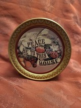 """Vintage Peace Be To This House Tin Americana Dove Flowers w Banner 7"""""""